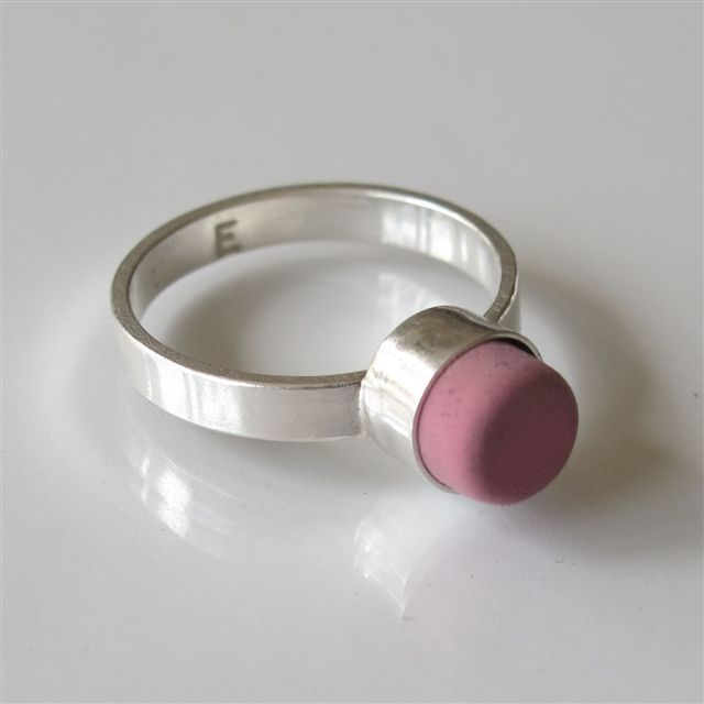 Eraser Rings  by E for Effort: Handmade of sterling silver with a red, pink, or green eraser. #Ring #Eraser #eforeffort