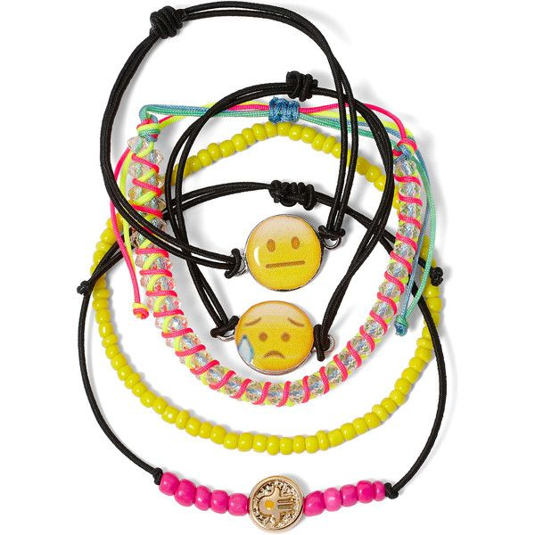 Carole 5-pc. Emoji Bead Cord Charm Bracelet Set (530 THB) ❤ liked on Polyvore featuring jewelry, bracelets, charm bracelet bangle, multi colored jewelry, cord jewelry, bead charms and bead jewellery