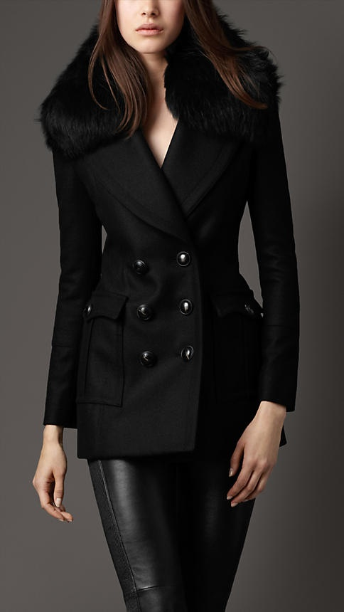 Burberry Fur Collar Pea Coat