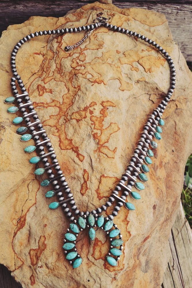 COWGIRL Gypsy  Bling SQUASH BLOSSOM Turquoise Southwestern NECKLACE  #isac #necklace