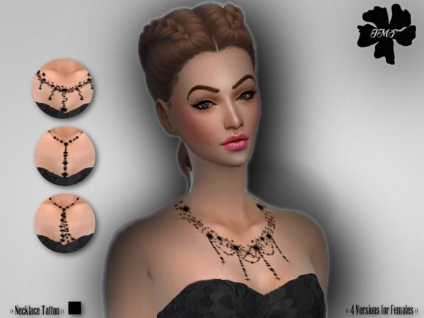 IMF Necklace Tattoo Set by IzzieMcFire at TSR via Sims 4 Updates