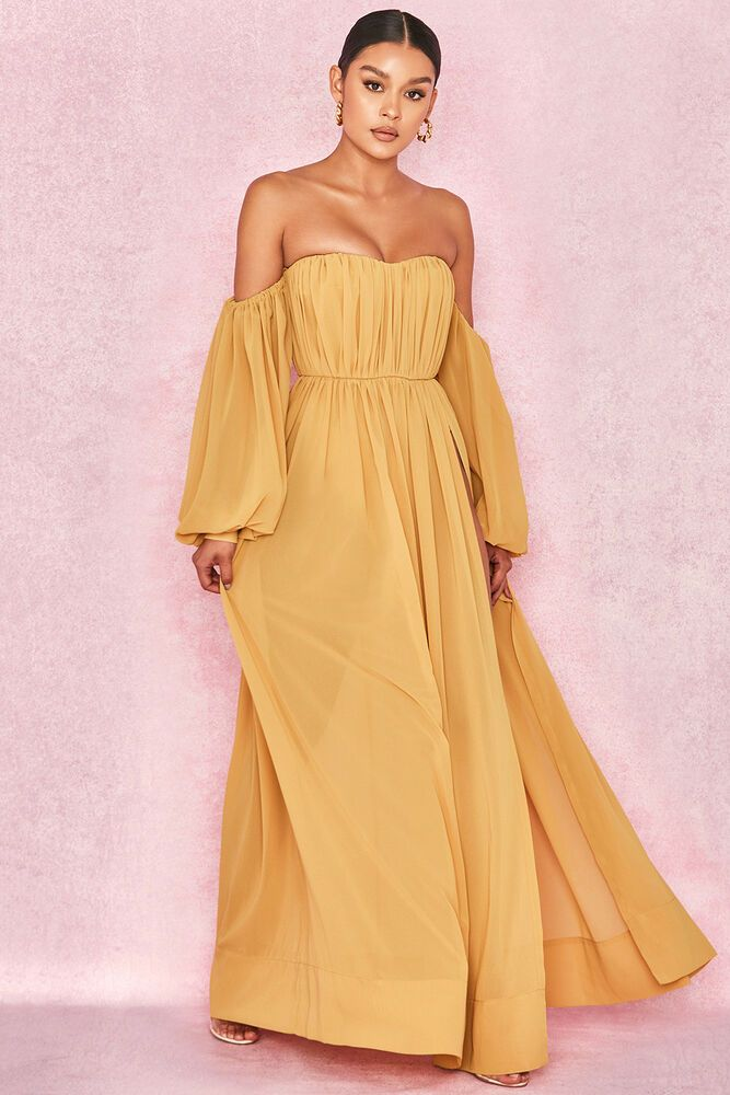 a537d64574c1b HOUSE OF CB 'Marlena' Mustard Chiffon Bardot Maxi Dress S 8 / 10 ZA 105  #fashion #clothing #shoes #accessories #womensclothing #dresses (ebay link)