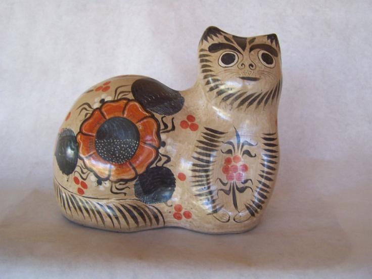 Vintage Mexican Folk Art Pottery Cat