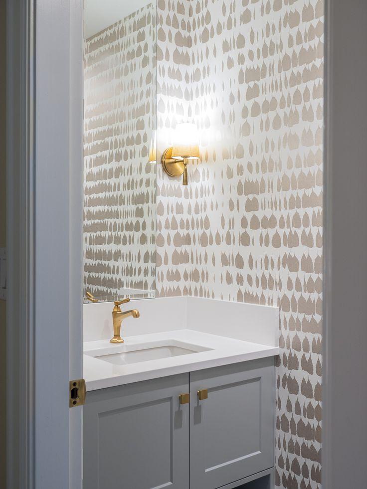 Gold Wallpaper Powder room