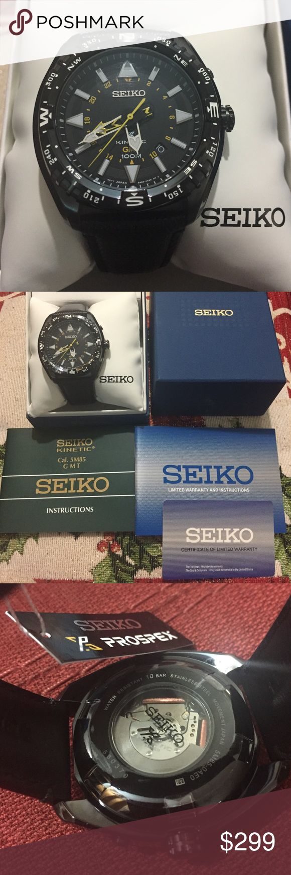 🎉‼️ SALE ‼️🎉 SEIKO Kinetic ProspeX watch Guaranteed 100% Brand New and Authentic.    New Seiko SUN057 Prospex Kinetic GMT Stainless Black Leather Strap 100M Men's Watch     Product Description  Cal. 5M85 Black Dial Kinetic Movement Power Reserve Indicator Function GMT indicator 6 Month Power Reserve Date Calendar   Black Ion Stainless Steel Case Black Leather Strap Buckle Clasp  Hardlex Crystal  Luminous Lumbrite Hands and Markers Rotating bezel Screw down crown Screw See Through Case Back…
