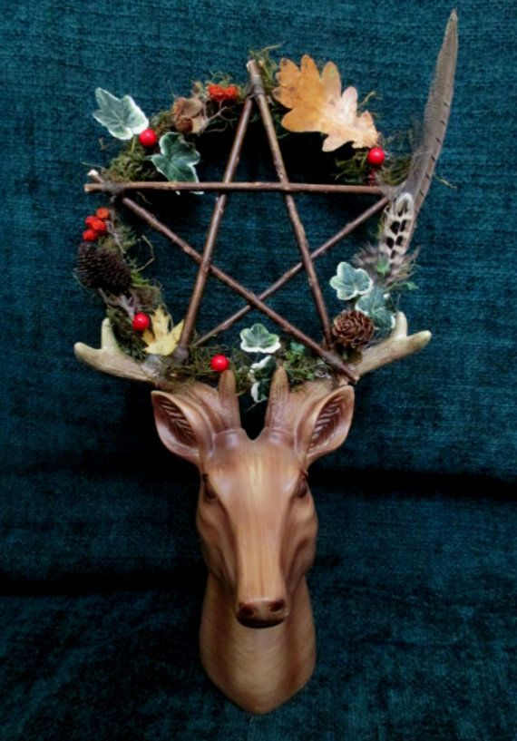 Yule Stag Head & Woodland Yule Pentacle. Horned by PositivelyPagan