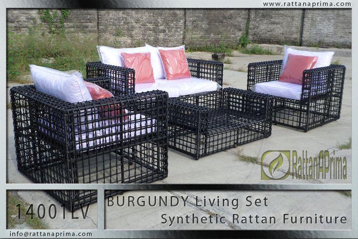BURGUNDY Synthetic Rattan Living Set