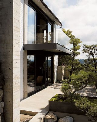 beautiful steal, glass, and concrete exterior