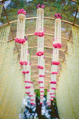 Floral Ceiling Decor | WedMeGood Grogeous Floral Decor For Mehendi Entrance with White & Pink Flowers. Find Many More Inspirations on wedmegood.com #wedmegood #decor #wmgdecor