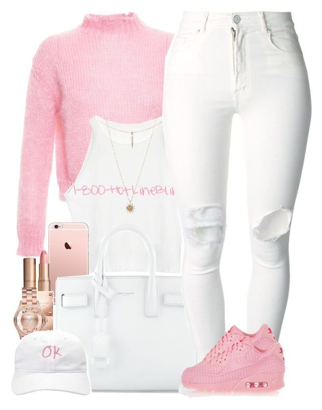 """""""Pretty Pink"""" by oh-aurora ❤ liked on Polyvore featuring Filles à papa, Yves Saint Laurent, Charlotte Tilbury, Michael Kors, ASOS, Marc by Marc Jacobs, Forever 21, (+) PEOPLE and NIKE"""