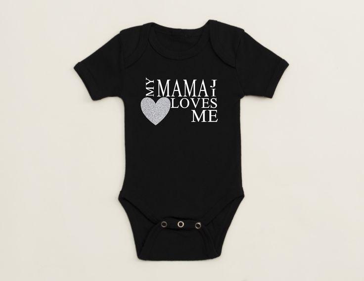 Black – Short Sleeve – Infant Onepiece – My Mamaji Loves Me – Heart Design