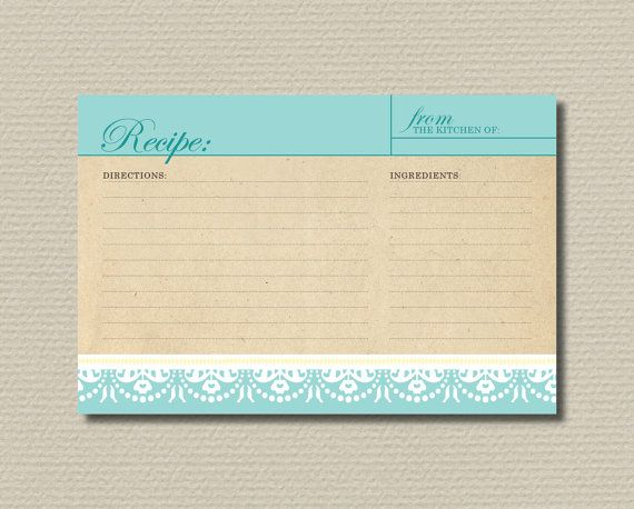 Bridal Shower Recipe Cards  Elegant Tiffany blue by rosiedaydesign, $6.00    *send these with invites for people to bring to shower