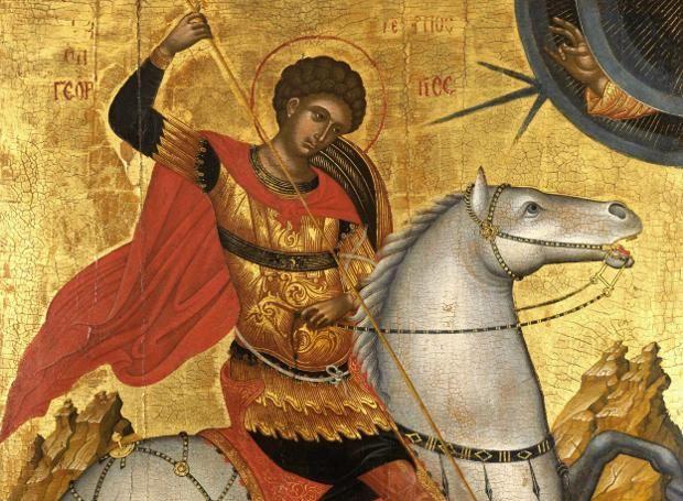 Άγιος Γεώργιος (275 – 303): Από τους δημοφιλέστερους Αγίους σε όλο τον χριστιανικό κόσμο. Ονομάζεται, επίσης, Μεγαλομάρτυς και Τροπαιοφόρος.