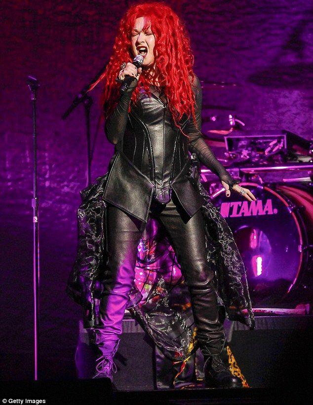 Cyndi Lauper in custom leather by Carla Dawn Behrle