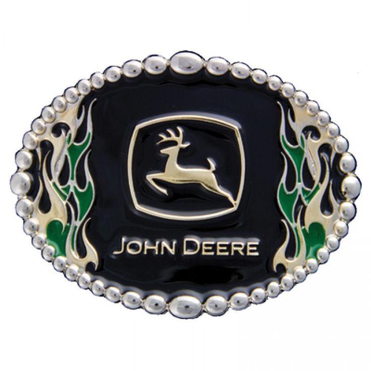 John Deere Green and Gold Flame Cast Buckle | RunGreen.com