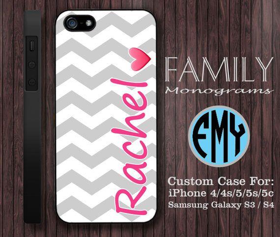 chevron pink and grey custom name monogram hard by familymonogram, $15.99