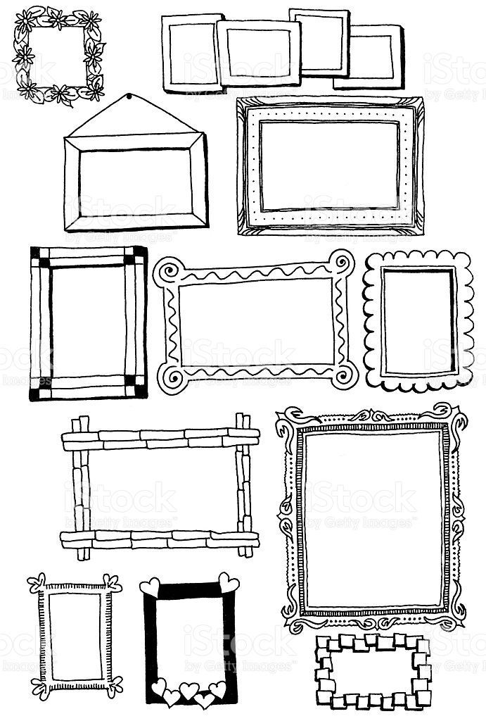 Hand drawn doodles of a variety of picture frames