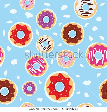 seamless donuts pattern with blue background vector design