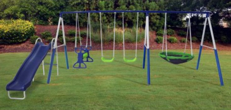 Metal Swing Sets Kids Playground Equipment Outdoor Playground Backyard Fun #eVirtualdeals