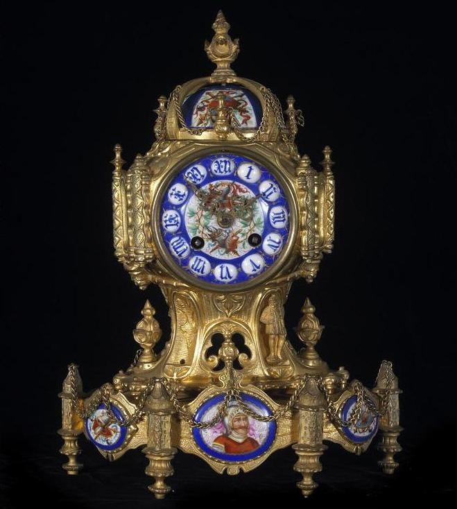 A French Porcelain Mounted Gilt Bronze Mantel Clock