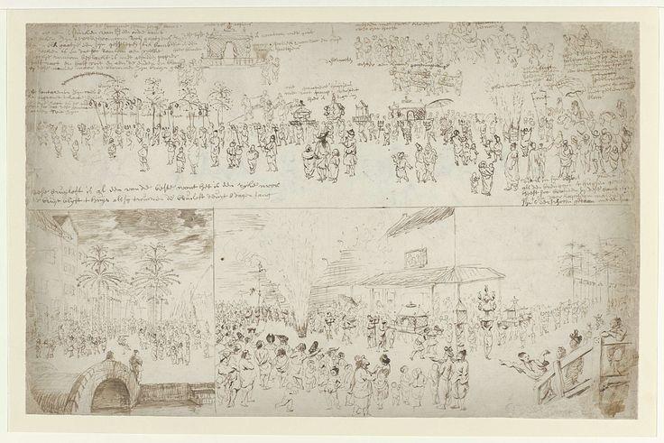 anoniem   Gedeelte van een bruiloftsstoet, attributed to Cornelis de Bruyn, 1662 - 1726   Bruilofsstoet met rechts drie bruidegoms te paard. Voor de paarden uit lopen mensen met onder andere een flambouw en twee staffen. Onderaan de tekening staat een opschrift.