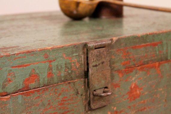 Antique Old Rustic Worn Green Red Trunk w/ by hammerandhandimports