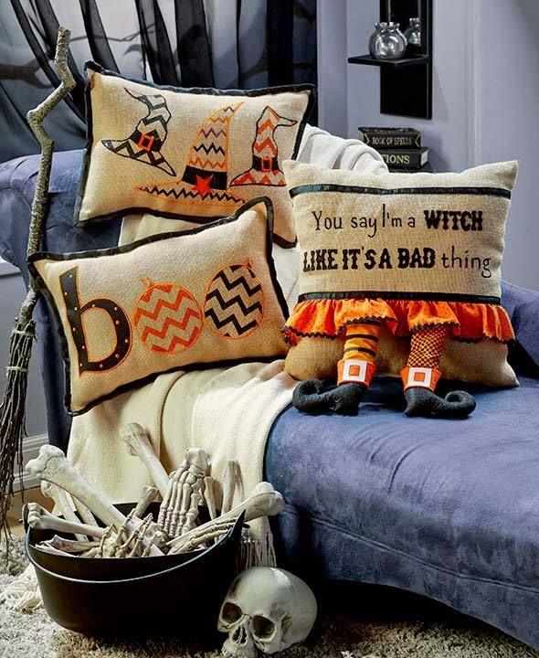 Natural Jute Halloween Witch Theme Pillows