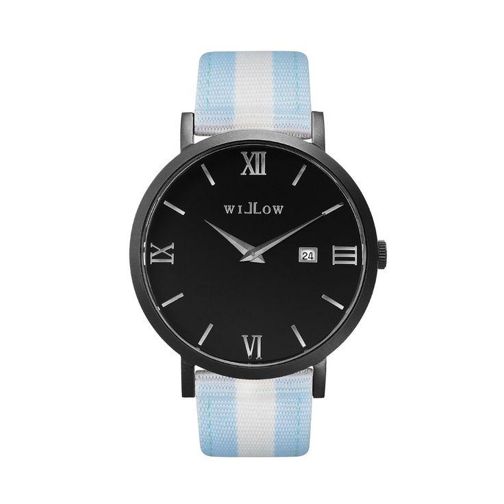 Verona Matte Black Watch & Interchangeable Baby Blue & White Nato Strap.