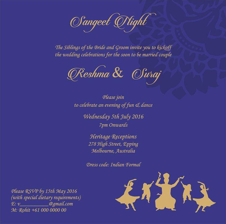 Wedding Invitation Wording For Sangeet Ceremony In 2020 Wedding Card Wordings Indian Wedding