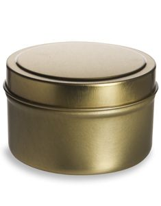 Specialty Bottle - 6 oz Gold Deep Tin Container with Slip Cover, $0.95 (http://www.specialtybottle.com/metal-tin-containers/deep-flat-slipcover/6oz-gold-tgld6)