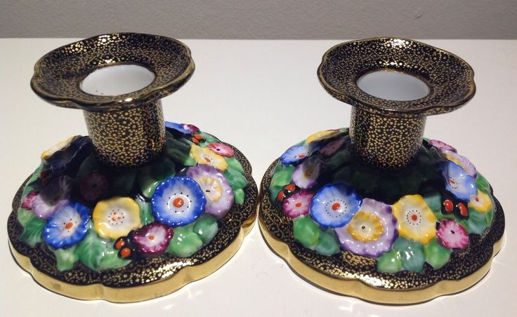 STUNNING HAND PAINTED ART DECO PAIR OF TUSCAN PLANT CANDLE HOLDERS | eBay