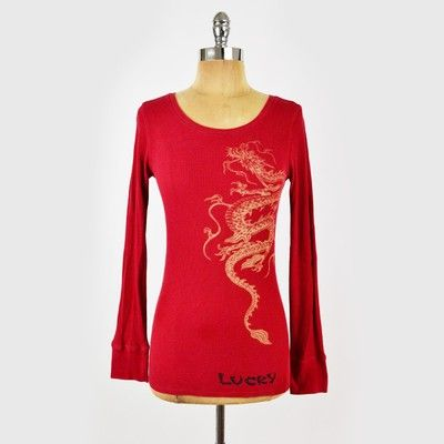 59 Lucky Brand Red Asian Chinese Dragon Print Thermal