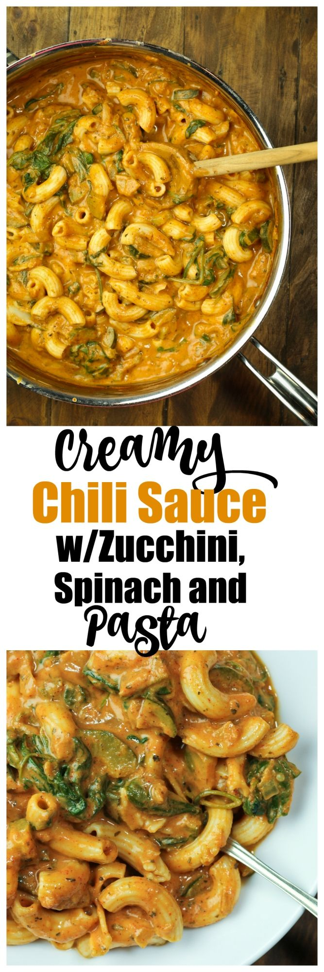 Creamy Chili Sauce with Zucchini, Spinach and Pasta. So creamy, rich and yet light with no oil or butter. Just whole food ingredients. So much flavor from Italian dried herbs and chili powder and tomato sauce. So good, you will become addicted. Just 8 ingredients! #vegan #dairyfree #oilfree #pasta #creamy #zucchini #spinach #sauce via @thevegan8