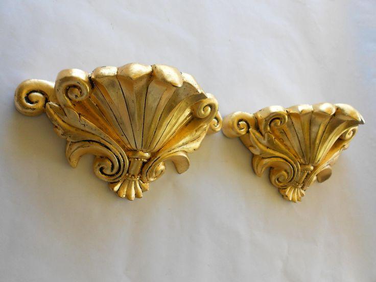 Pair of Wall Shelf Sconces, Gold Leaf Distressed Sconces, Wall Sconces, Gold Sconces, Wall Decor, Wall Art,item GLSC1009 by GoldLeafGirl on Etsy
