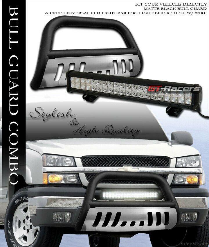 Sponsored Ebay Matte Blk Bull Bar Guard Skid 120w Cree Led Light For 99 Silverado Sierra 2500 Cree Led Led Fog Lights Led Lights