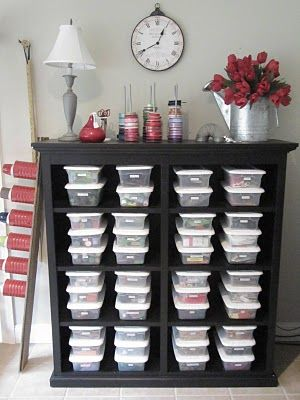 Smart! Old dresser with drawers removed. Use shoe boxes that are labeled and organized. Could store a lot of crafts this way.