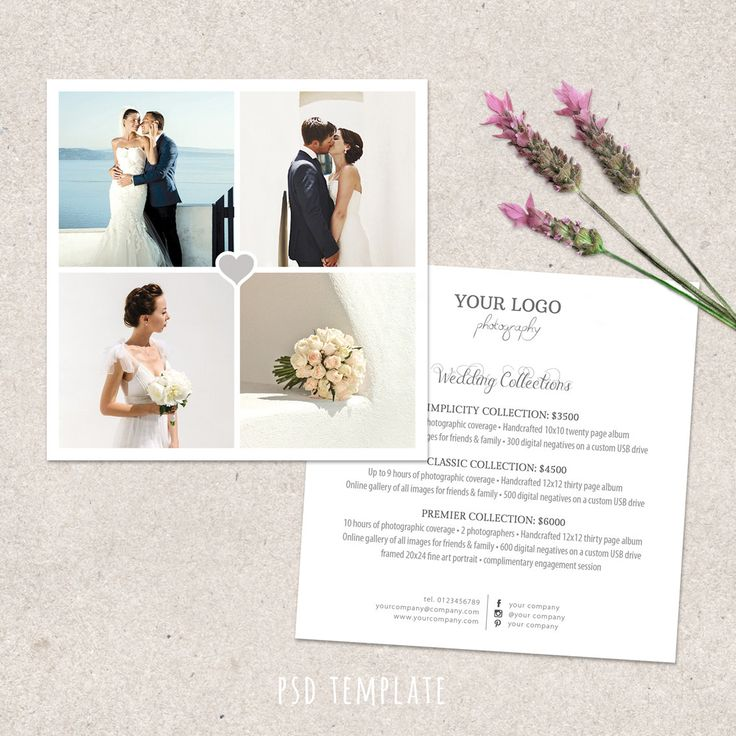 Wedding Photography Price List Template Marketing Advertising Pricing Guide Fully Editable PHOTOSHOP