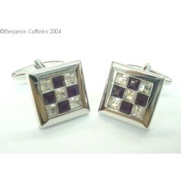 Purple & White Patchwork Cufflinks Featuring Swarovski Crystals - A stunning set of purple and white crystals set in a cross design.