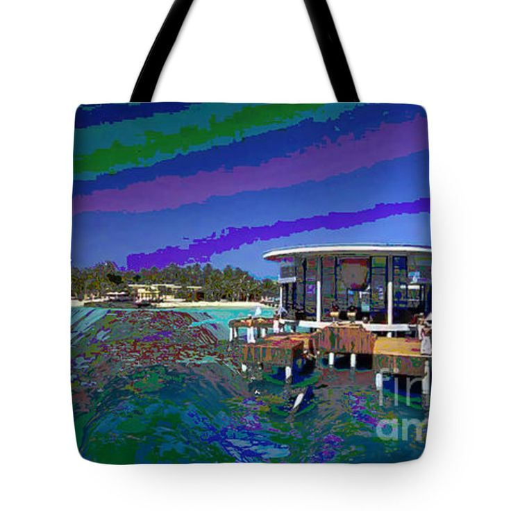 """Maldive Islands a dream come true. Tote Bag by NAVIN JOSHI (18"""" x 18"""").  The tote bag is machine washable, available in three different sizes, and includes a black strap for easy carrying on your shoulder.  All totes are available for worldwide shipping and include a money-back guarantee."""