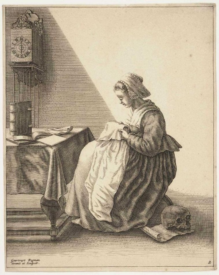 1649 Dutch: Ruffling (making ruffles). Note clock and skull - she'll spend her life working, and life will cease when she can't work any more.