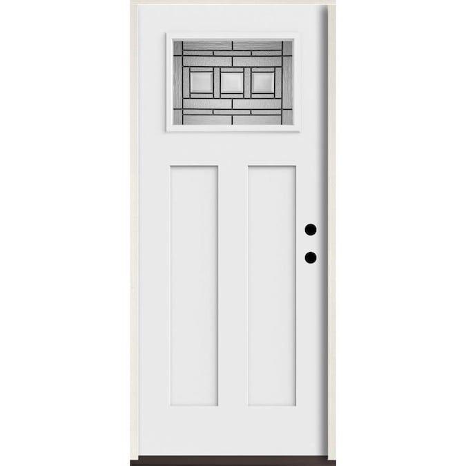 Reliabilt Craftsman Craftsman Decorative Glass Left Hand Inswing Fiberglass Prehung Entry Door With Insulating Core Common 36 In X 80 In Actual 37 5 In X 81 In 2020 Glass Decor Entry Doors Door Handle Sets