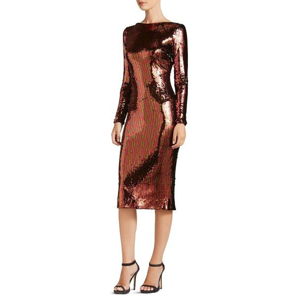 Dress the Population Emery Long-Sleeve Sequin Dress ($275) ❤ liked on Polyvore featuring dresses, auburn, sequin midi dress, sequin dress, wetlook dress, sequin cocktail dresses and brown sequin dress