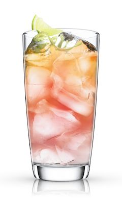 Malibu Bay Breeze: •1 part (50 ml) MALIBU RUM • 1 part (50 ml) cranberry juice •1 part (50 ml) pineapple juice •1 lime wedge   HOW TO MIX THE DRINK: Add ice cubes to a chilled highball glass. Add MALIBU, cranberry juice and pineapple. Garnish with lime wedge.