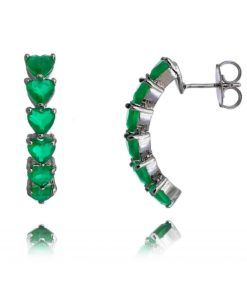 brincos de argola com pedras esmeraldas e rodio negro com tarraxa semi joias online