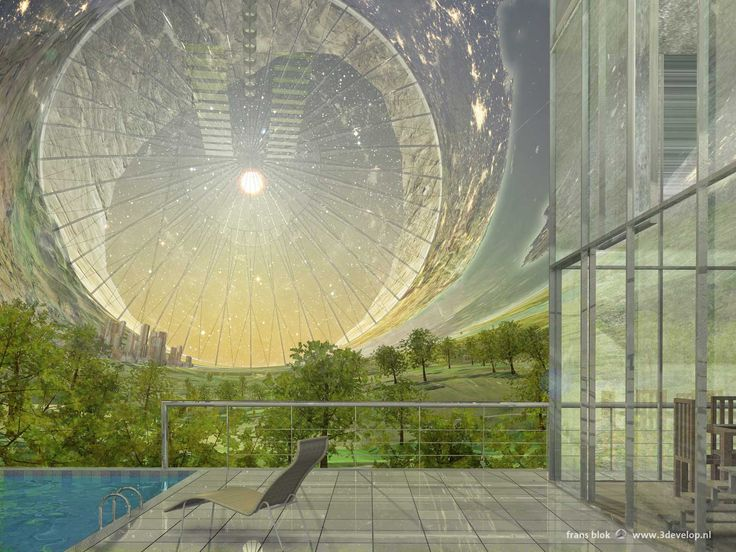 The inverted world - interior view of a space colony in a hollow asteroid, as envisioned by science fiction writers like Arthur C. clarke, Kim Stanley Robinson and Greg Bear. An appartment with a terrace and a magnificent view of lakes, forests mountains, towns and a more than giant circular window to the space outside.