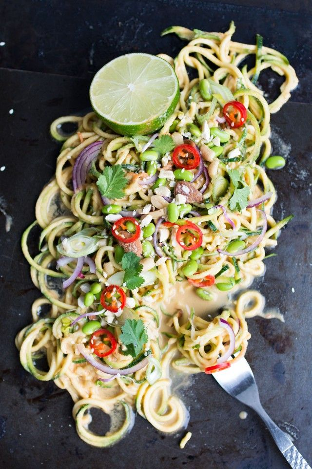 A zingy, light thai style zucchini salad with edemame beans, peanut lime dressing and loads more goodness!