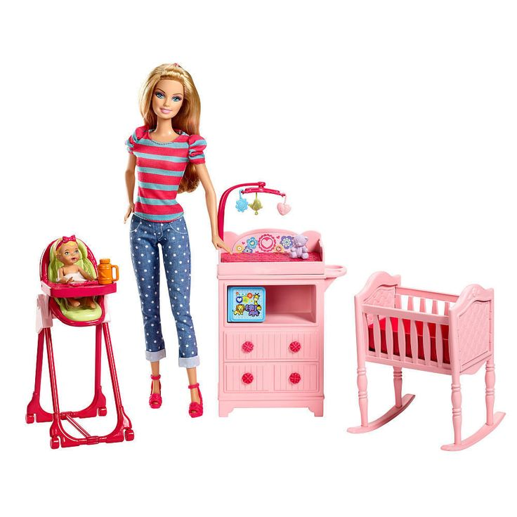 Barbie careers baby sister krissy doll set nursery crib for Porte bebe toys r us