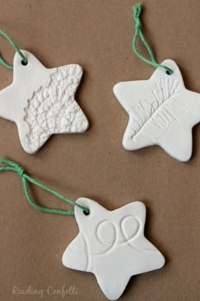 Stamped clay ornaments are easy to make and look great.