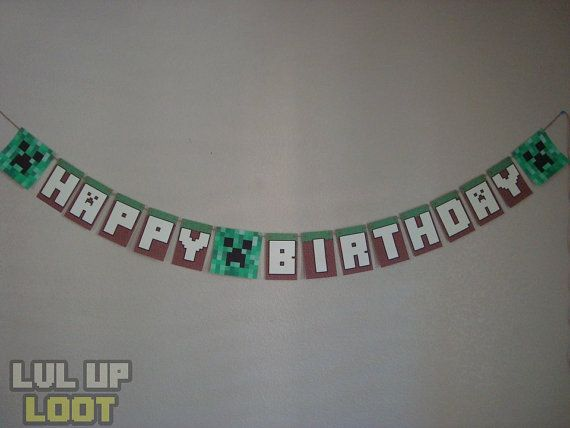 Printable Minecraft Birthday Banner - DIY Minecraft Party - Instant Downoad MInecraft Banner - You Print at Home