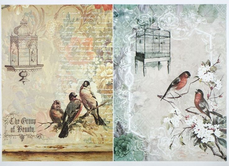 A/4 Classic Decoupage Paper Scrapbook Sheet Vintage Birds